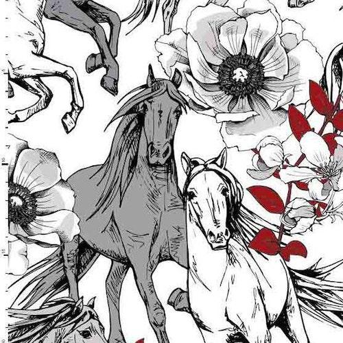 Bomullstrikå - Hästar Svart röd vit grå