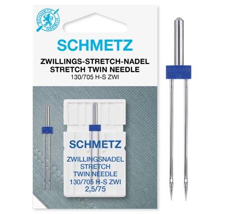 Nål - Schmetz Tvillingnål 2,5 mm Stretch 75