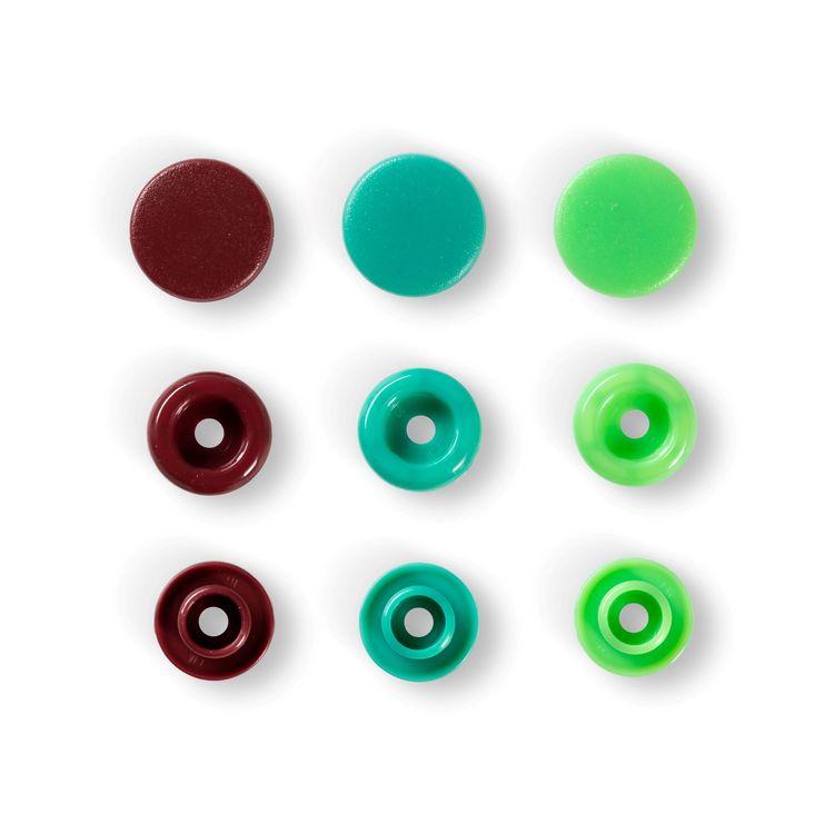 Colour snaps Plast tryckknappar Grön-mix