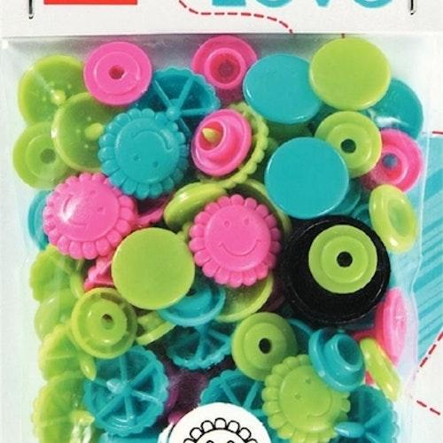 Colour snaps Plast tryckknappar Blommor Rosa lime turkos 13.6mm