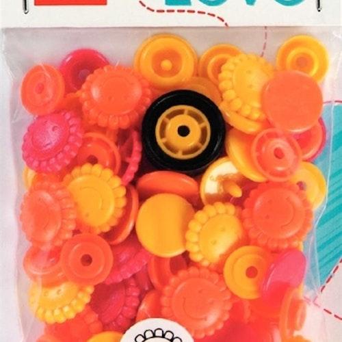 Colour snaps Plast tryckknappar Blommor Orange röd gul 13.6mm