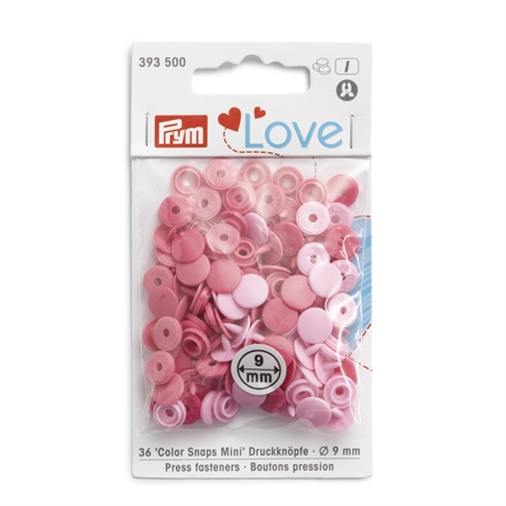 Colour snaps - LOVE mini Runda, 9mm rosa släta