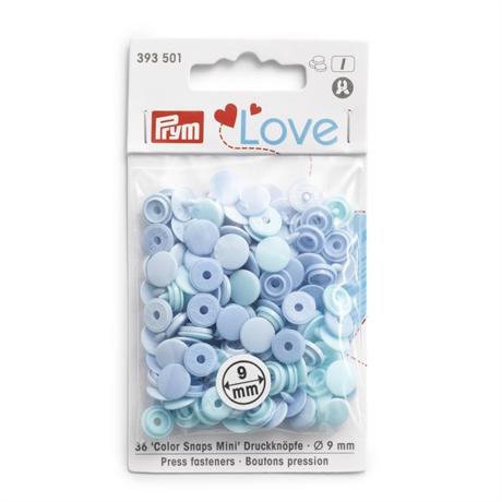 Colour snaps - LOVE mini Runda, 9mm ljusblå släta