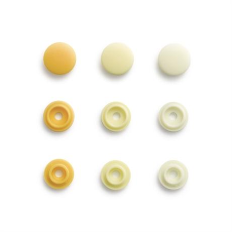 Colour snaps - LOVE mini Runda, 9mm ljusgul släta