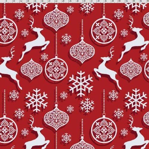 Bomullstrikå Jul Renar och julkulor