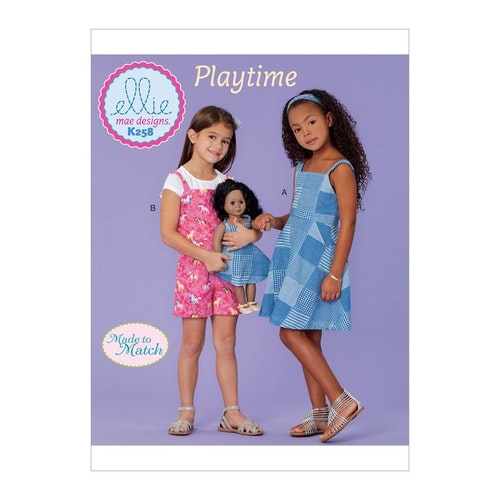 Kwik Sew k258 -  Klännning jumpsuit barn dockkläder - Ellie mae