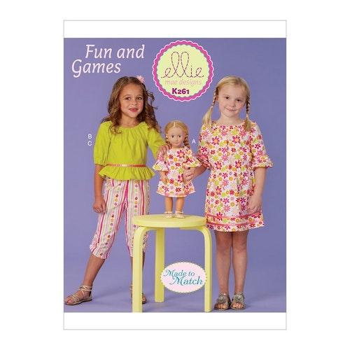 Kwik Sew k261- Klännning top byxa barn dockkläder - Ellie mae