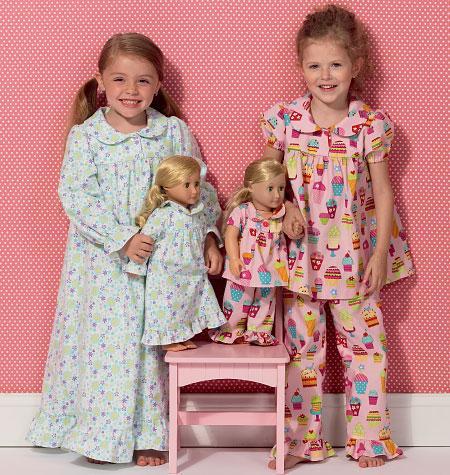 Kwik Sew k157 - Nattkläder barn / Dockkläder | Design: Ellie Mae