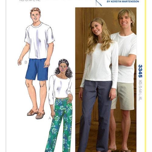 Kwik Sew k3345- byxa tröja myskläder - herr dam