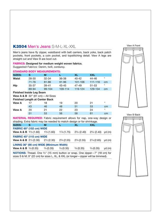 Kwik Sew 3504 - Byxa - Herr