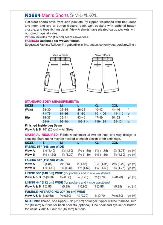 Kwik Sew k3884 - Shorts - Herr