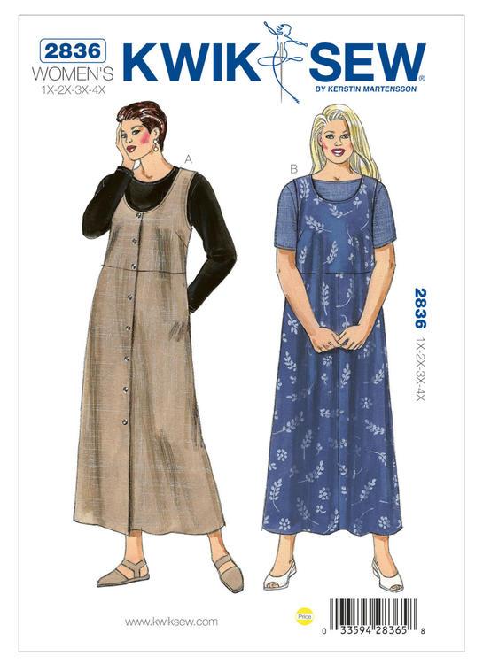 KWIK SEW k2836 Dam 1XL-4XL klänning