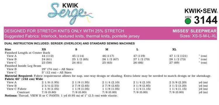 Kwik Sew k3144 Nattlinne, Pyjamas korta och långa ben  Dam
