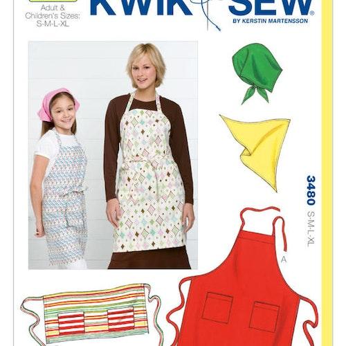 Kwik Sew k3480 Vuxen Barn Förkläden Sjalett