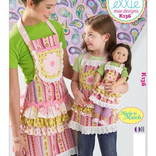Kwik Sew k136 Vuxen Barn Docka Förkläde