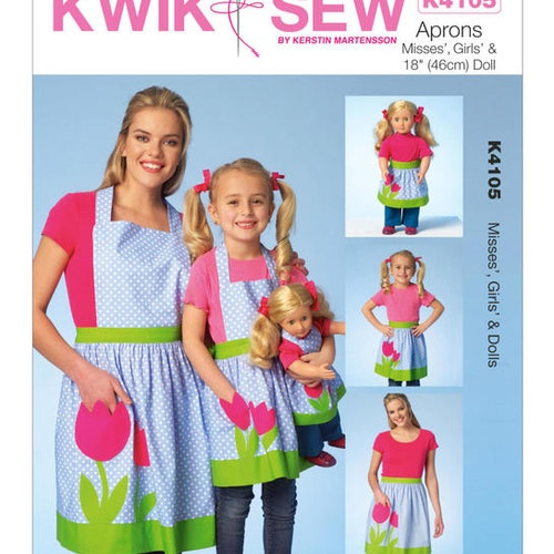 Kwik Sew k4105 Vuxen Barn Docka Förkläde