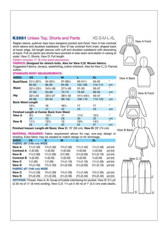 Kwik Sew 3981 - Byxa - Dam Herr