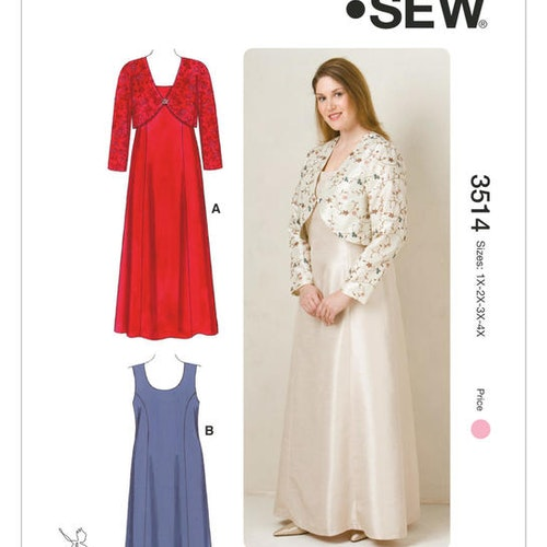 KWIK SEW K3514 Dam Plus 1xL-4xL  Fashion Klänning Jacka