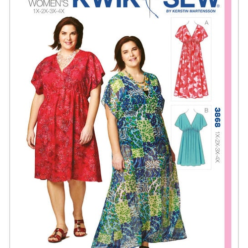 KWIK SEW K3868 Dam Plus 1xL-4xL Fashion Klänning