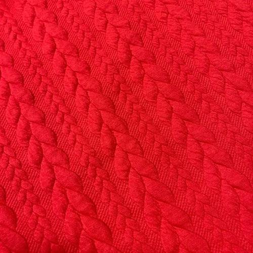 Jaquard - Kabelstickad Röd