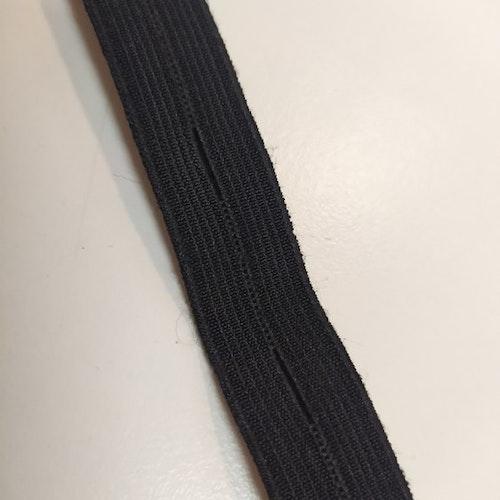 Svart KNAPPHÅLSRESÅR 15 mm bred, säljs per decimeter