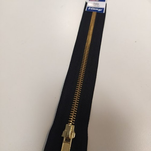 Blixtlås / Dragkedja Jeans svart 18 cm med guldkedja ej delbart
