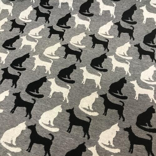 Jaquard för tex tights, svart och vit katt hund