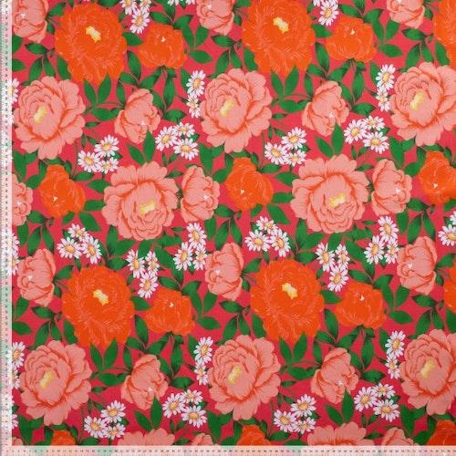 Stretchjeans - Ljusröd med stora blommor