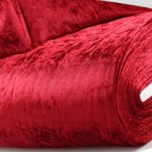 Velour av polyester, krossad mörkröd