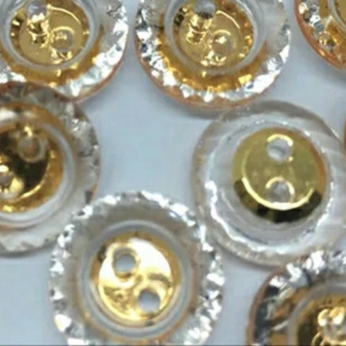 Knapp att sy fast 5-PACK , 13 mm Genomskinlig med guld