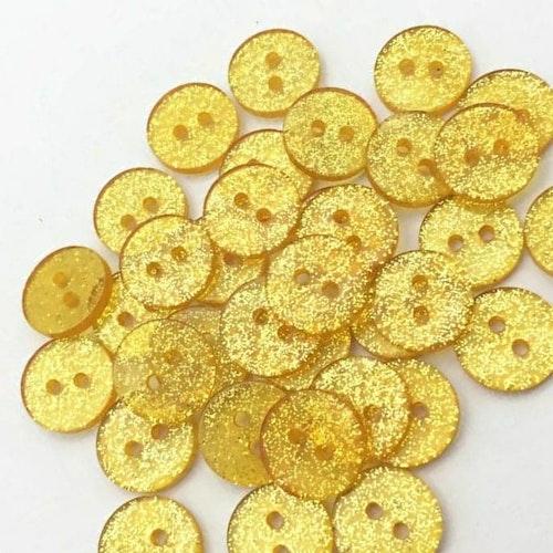 Knapp att sy fast 5-PACK , 12mm guldglittrig