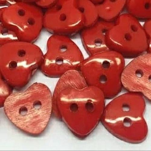 Knapp att sy fast 5-PACK , 13mm rött hjärta