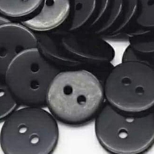Knapp att sy fast 5-PACK , 15mm svart slät