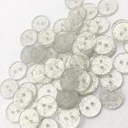 Knapp att sy fast 5-PACK , 12mm silvrig glitter