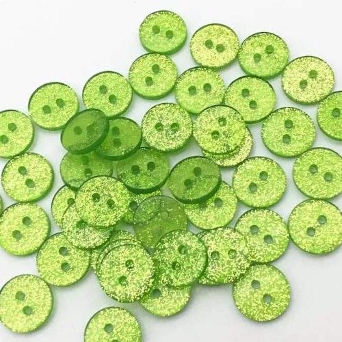 Knapp att sy fast 5-PACK , 12mm grön glittrig