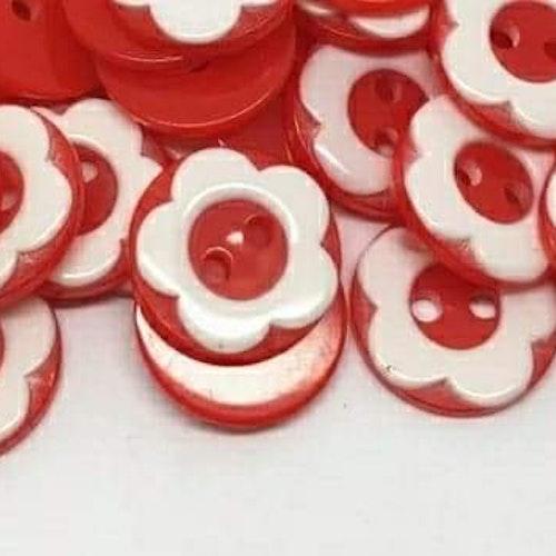 Knapp att sy fast 5-PACK , 13mm röd blomma