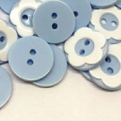 Knapp att sy fast 5-PACK , 13mm pastell blå blomma