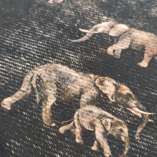 Bomullstrikå - Elefanter på tryckt jeansstruktur