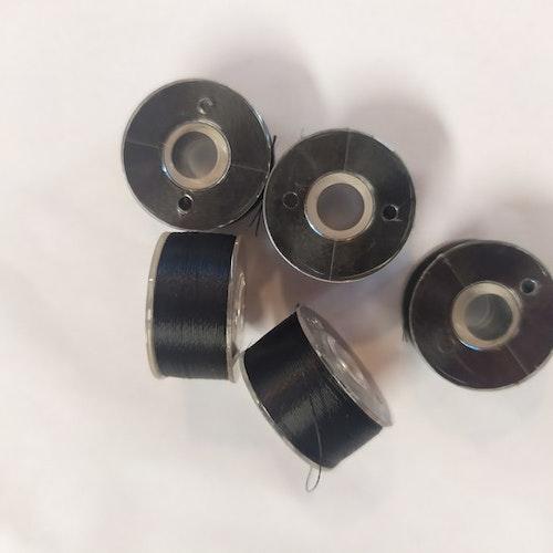 Förspolad undertråd till broderimaskin 5-pack svart Spole