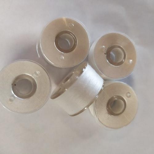 Förspolad undertråd till broderimaskin 5-pack Vit Spole