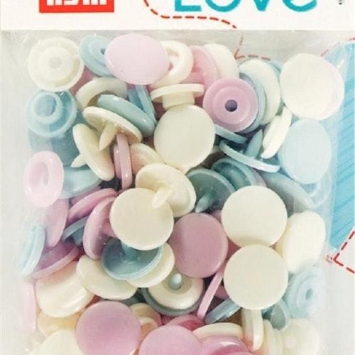 Colour snaps Plast tryckknappar Pastell-mix