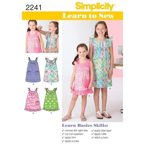 Simplicity 2241 K5 Barn Storlek 7-14 Klänning