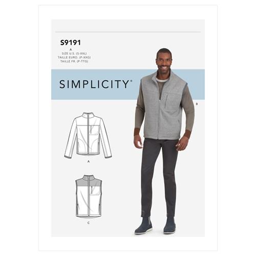 Simplicity 9191 A Herr Storlek S-XXL Jacka Väst