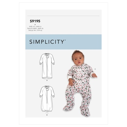 Simplicity 9195 A Barn Storlek 1-18 mån Pyjamas