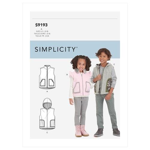 Simplicity 9193 A Barn storlek 3-8 Väst