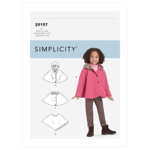 Simplicity 9197 A Barn Storlek 3-8 Cape
