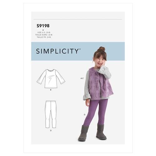 Simplicity 9198 A Barn Storlek 3-8 Flera plagg
