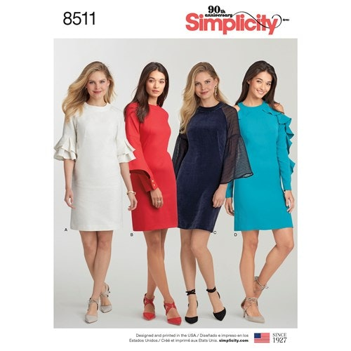 Simplicity 8511 R5 Dam Storlek 40-48 Klänning