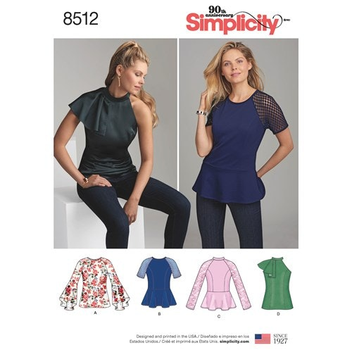 Simplicity 8512 H5 Dam storlek 32-40 Överdel
