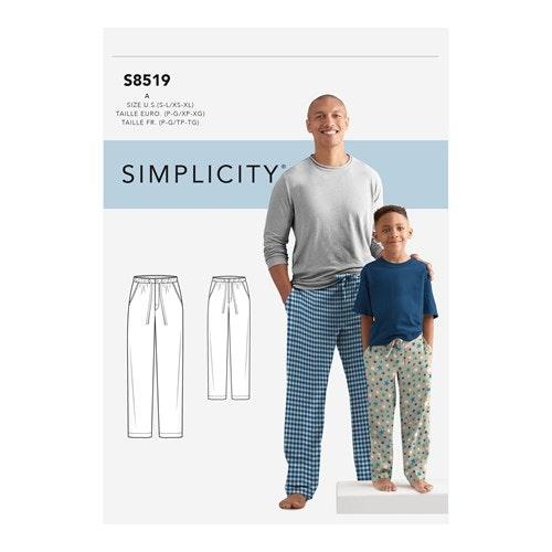 Simplicity 8519 A Barn / Herr Storlek S-L / XS-XL Mysbyxa